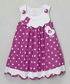 Love this Purple Bird Polka Dot Dress - Infant, Toddler & Girls by Powell Craft on Kids Dress Wear, Toddler Girl Outfits, Toddler Girl Dresses, Toddler Fashion, Kids Outfits, Kids Fashion, Toddler Girls, Baby Kostüm, Baby Kind