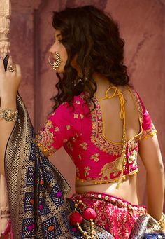 All Ethnic Customization with Hand Embroidery & beautiful Zardosi Art by Expert & Experienced Artist That reflect in Blouse , Lehenga & Sarees Designer creativity that will sunshine You & your Party Worldwide Delivery. Half Saree Designs, Choli Designs, Fancy Blouse Designs, Bridal Blouse Designs, Blouse Neck Designs, Lehenga Designs, Stylish Blouse Design, Dress Indian Style, Indian Dresses