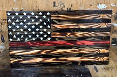 Thin Red Line Wood Flag - American Flag - Rustic Wood American Flag - Wooden American Flag - Distressed Flag - Wood Burnt Flag - Firefighter American Flag Art, Wooden American Flag, Wooden Flag, American Pride, Wooden Crosses, Wooden Signs, Woodworking Projects Diy, Diy Wood Projects, Wood Crafts