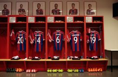 Bayern Munich shirts hanging up in the changing room