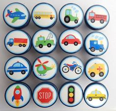 Blue Transportation Drawer Knobs, Car Knobs, Airplane Knobs, Truck Dresser Knobs -Wood Knobs- Made-to-Order Story Stones, Rock Painting Ideas Easy, Mosaic Designs, Drawer Knobs, Rock Crafts, Baby Boy Rooms, Vintage Roses, Handmade Decorations, Stone Art