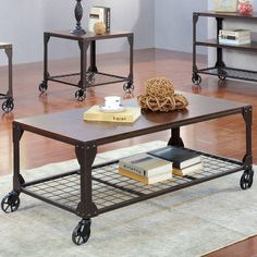 Features:  -Décor and accessories not included.  Top Finish: -Espresso.  Base Finish: -Metal.  Top Material: -Solid Wood.  Base Material: -Steel.  Base Material Details: -Stainless steel. Dimensions: