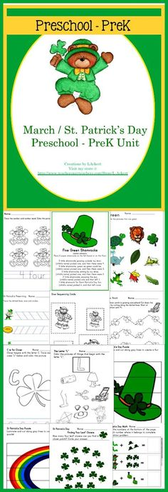 A LOT of learning with a St. Patrick's Day theme for preschool to preK. This unit contains over 70 students pages for young learners to practice a multitude of skills!