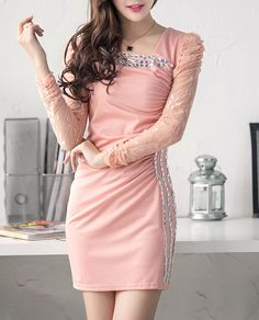 long sleeve blended party dress | fashionmia.com