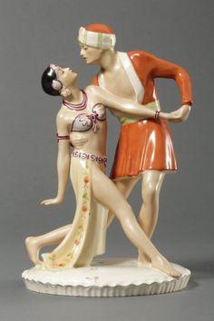 "Tänzerpaar, Royal Dux, Tschechoslowakei, ""Persisches Ballett"""