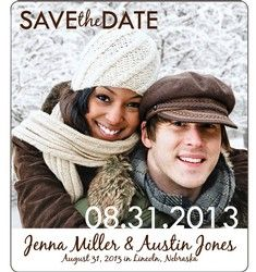 winter save the date wedding magnet