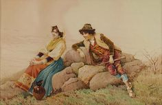 "Filippo Indoni (Italian, 1842-1908) ""The Courtship"" Watercolor on Paper, Signed (l/r): Indoni. Circa: 1880"
