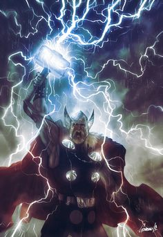 I Cant Lie when I saw Thor was being made into a film I covered my eyes in fear but I really enjoyed the film! Art by Andrea Guardino http:. Marvel Comics Art, Marvel Heroes, Marvel Avengers, Thor Superhero, Comic Book Characters, Marvel Characters, Disneysea Tokyo, Les Runes, The Mighty Thor