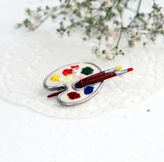 Brooch in the shape of palette  Brooch for the artist  by OPStyle, $20.00