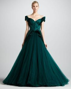 Zac Posen Sweetheart-Neck Ball Gown, Dark Green-the classic design and color took my breath away.