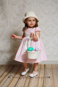 Easter Portrait Easter Bonnet Easter Dress Girl Easter Picture Easter Basket Easter Egg two year old 2 years two-year-old