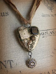 Mixed Media Necklace~ Vintage Style!