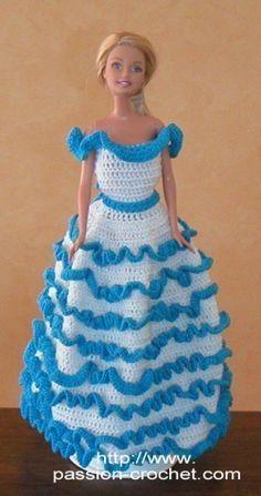 Evening dress crochet for Barbie