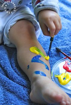 Painted Socks. Instead of face painting - try painting feet. Easy for toddlers to see and try themselves.