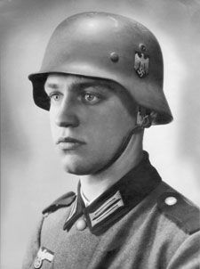 """This photo of """"half-Jew"""" Werner Goldberg, who was blond and blue-eyed, was used by a Nazi propaganda newspaper for its title page. Its caption: """"The Ideal German Soldier."""""""
