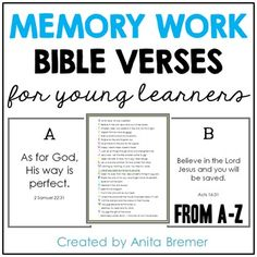 This download includes all of  the Bible memory verses that I teach to my Kindergarten class each year. {I assign one verse per week.}The verses are arranged alphabetically, which makes it easy to remember and learn!Anita BremerPermission by author for single classroom use only.I love it when you share my products with your colleagues!