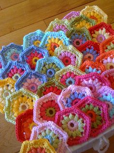 Crochet Hexagons so pretty and colorful