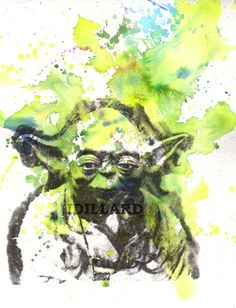 Yoda Star Wars Art Watercolor Painting - Star Wars Fine Art poster print 8 X 10 in.