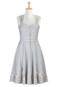 #eshakti floral embroidered dress with straps and wide sweetheart neckline in pewter gray