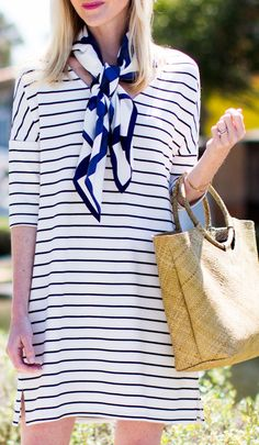 Blue and white casual dress