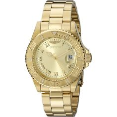 Invicta Pro Diver Diamond-Accented Gold-Tone Watch ($114) ❤ liked on Polyvore featuring jewelry, watches, sport chronograph watches, invicta watches, invicta wrist watch, sports watches and sport watches