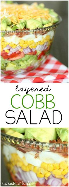 healthy food recipes chiken dinner cooking Try this delicious Layered Cobb Salad recipe with Marzetti's Simply Dressed Blue Cheese dressing. Perfect for your next dinner party or family barbecue! Healthy Salad Recipes, Gourmet Recipes, Cooking Recipes, Healthy Foods, Ensalada Cobb, Cobb Salad, Pea Salad, Salad Bar, Clean Eating