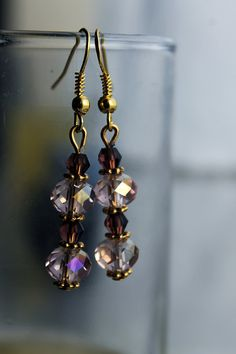 Pink and Gold Crystal Earrings