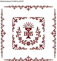 Weihkorbdecken Zählvorlage - Weihkorbdecken - Themen Catholic Crafts, Altar Cloth, Cross Patterns, Knitting Projects, Projects To Try, Cross Stitch, Easter, Embroidery, Crochet