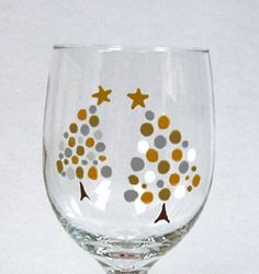 Christmas Tree Wine Glass Hand Painted by ConniesCreations2010, $10.00                                                                                                                                                     More