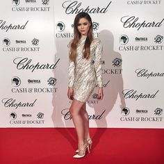 Tonight at the @cash_and_rocket charity event hosted by @chopard. 1.4million were raised for the cause by 70 stunning women who spread tons of positivity along the way. Way to go ❤️ #CashAndRocket dress by @nicolasjebran