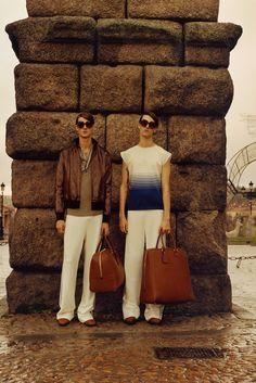 Loewe AW15 Mens Horizontal Stripe Cap Sleeve Shirt Brown Bag