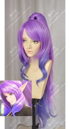 League of Legends Janna Star Guardian Skin Lavender Mauve Gradient Ultramarine Blue Ponytail Cosplay Party Wig_Lucaille WIG