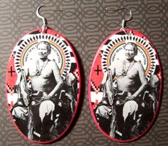 Navajo Chief Manuelito Ovall Wood Silver Plated Earrings