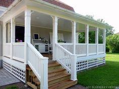 My Blueberry House: veranda Pergola Curtains, Diy Pergola, Pergola Roof, Veranda Design, Front Porch Design, Getaway Cabins, New England Style, Indoor Outdoor, Outdoor Decor