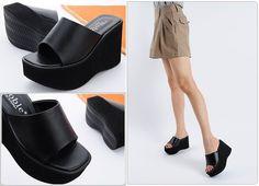 Black 10cm Wedge Sandals Heels Mule Slippers Platforms Women Shoes US 4.5~8 #Unbranded #PlatformsWedges