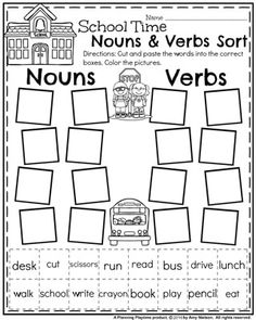 to School First Grade Worksheets - Planning Playtime First Grade Literacy Worksheet for Back to School - Nouns and Verbs Sort.First Grade Literacy Worksheet for Back to School - Nouns and Verbs Sort. Verb Activities For First Grade, First Grade Worksheets, 1st Grade Writing, First Grade Reading, First Grade Classroom, Nouns First Grade, Teaching First Grade, Reading Activities, Second Grade