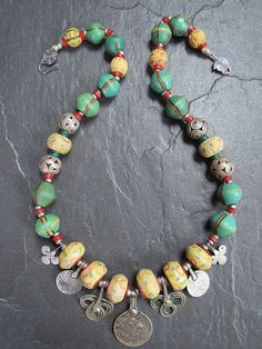 Antique African King and Venetian Trade Beads and by GEMILAJewels