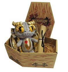 Doranth Dragonling Undead Plush sat on a bed of wood wool in his very own coffin box with his Undead Certificate <3 http://www.myfrightlings.com/gifts/undead-plush/doranth-dragonling-undead-plush.html