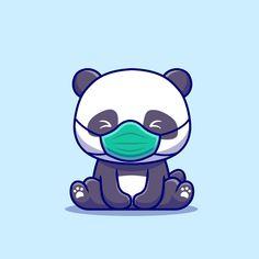 Cute Kawaii Animals, Cute Animal Drawings Kawaii, Cute Cartoon Drawings, Cartoon Icons, Cartoon Styles, Cute Panda Drawing, Cute Panda Cartoon, Niedlicher Panda, Panda Art