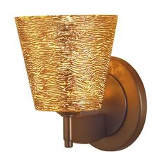 Bruck Lighting Bling 1 Bronze/Gold-textured Glass Shade Low-voltage Wall Sconce (Gold), Brown