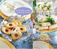Tea party treats as table decorations (Victorian-themed bridal shower tea party)