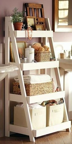 These stylish DIY bathroom shelves have plenty of space for towels, soap, cosmetics and more. Perfect for adding more storage and organization, these shelves can be painted to suit your decor. Click t (Basement Step Shelves) Bathroom Storage Shelves, Bedroom Storage, Kitchen Storage, Storage Organization, Bathroom Organization, Bathroom Ideas, Storage Ideas, Diy Bedroom, Craft Storage