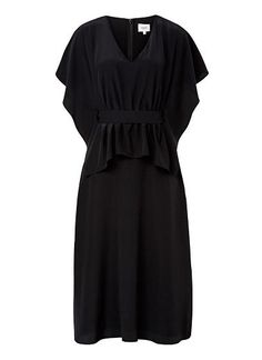 100% Silk Kaftan Tie Dress. Relaxed oversized silhouette features draped short sleeves and top body with belted waist and below the knee floaty hem. Available in Black as shown.