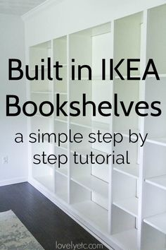 How to Build Easy Built Ins from IKEA Bookcases - Lovely Etc. A simple tutorial for turning basic IKEA billy bookcases into a gorgeous wall of built in bookshelv Ikea Bookshelves, Home Diy, Built In Shelves Living Room, Ikea Built In, Ikea Bookcase, Bookshelves Built In, Bookshelves Diy, Diy Furniture, Ikea Billy Bookcase
