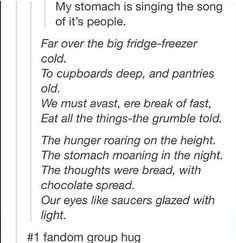 "I'm glad I'm not the only one that sings random silly things to the tune of ""Misty Mountains."" <--This"