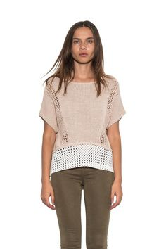 Women Tory Short #Sleeve #Knit #Pullover Tan White #Spring #Sweater One Grey Day