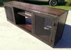 modern industrial media console/cabinet by by IndustEvo on Etsy, $950.00