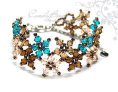 Bracelet en cristal Sweet Brown et Teal Multiflora par candybead