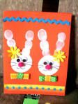 Card with Father's Day Rabbit - Easter Activities, Preschool Crafts, Easter Art, Easter Bunny, Fingerprint Art, Spring Crafts For Kids, Diy Easter Decorations, Coloring Pages For Kids, Creative Crafts