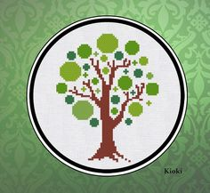 Etsy Cross Stitch Store----Cross Stitch Pattern Green Tree Instant Download by TinyNeedle